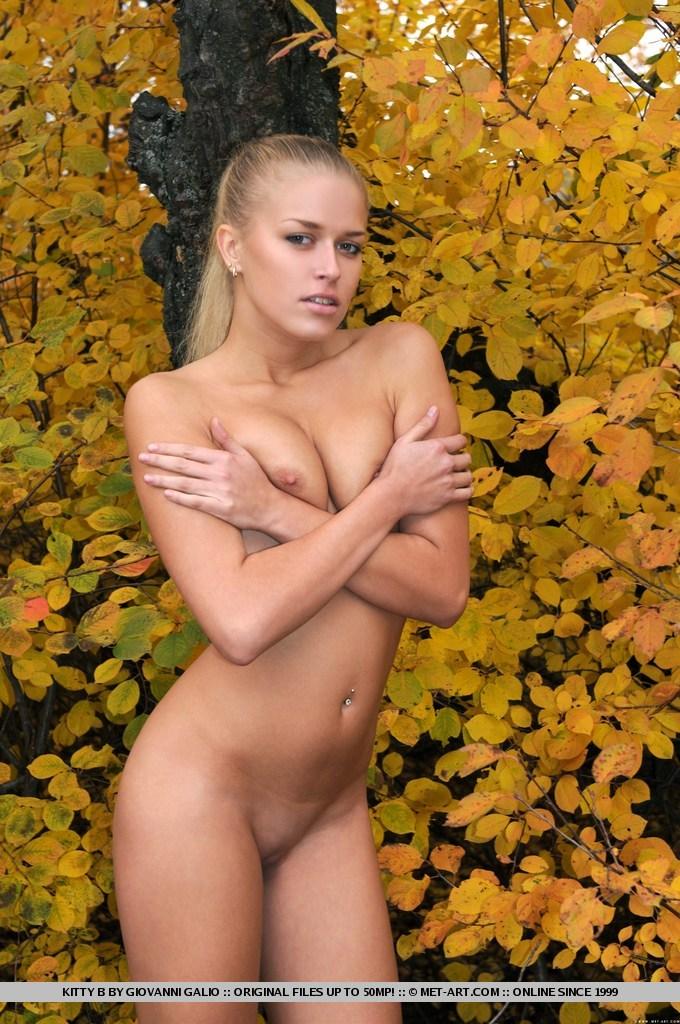 Обнаженная девушка в осеннем парке фото 89-50