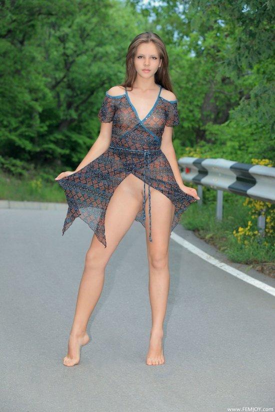Elena в игре с обнажением на дороге (16 фото)